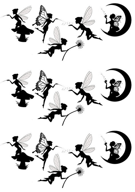 15 Stand Up Black White Silhouette Fairy Fairies Edible Wafer Paper Cake Toppers