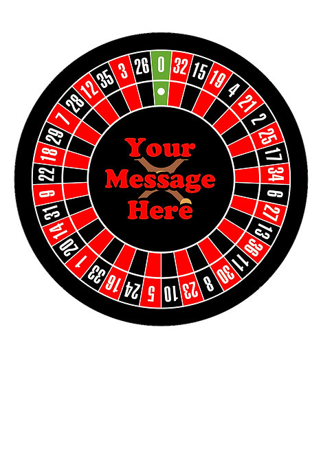 Roulette Wheel PERSONALISED MESSAGE 7.5 Inch Circle Decor Icing