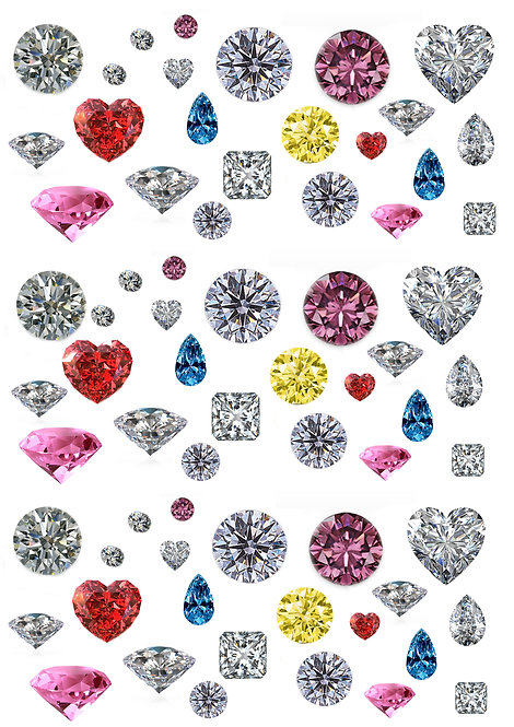 69 Stand Up Edible Wafer Paper Diamonds and Precious Stones Toppers