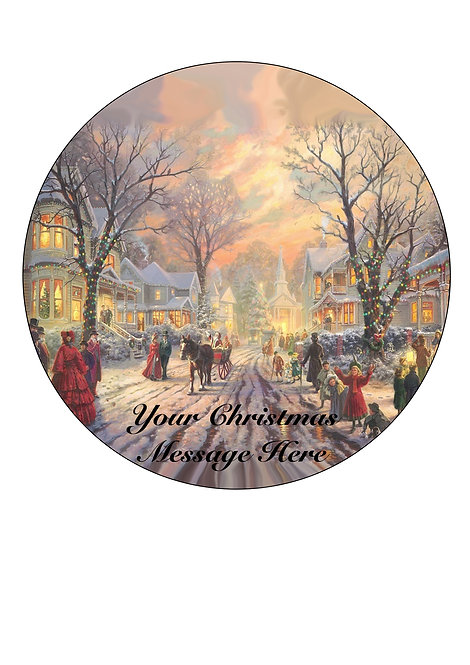 Christmas Victorian Scene PERSONALISED MESSAGE 7.5 Inch Circle Decor Icing Toppe