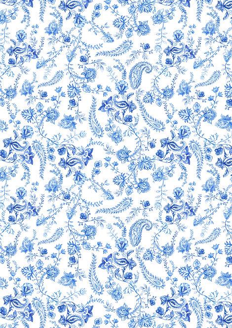 Blue & White Floral Flower Design Wallpaper Decor Icing Sheet