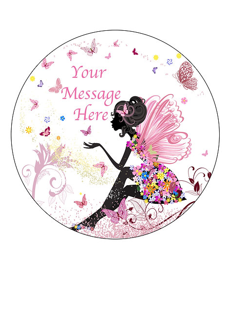 Flower Fairy PERSONALISED MESSAGE 7.5 Inch Circle Decoration
