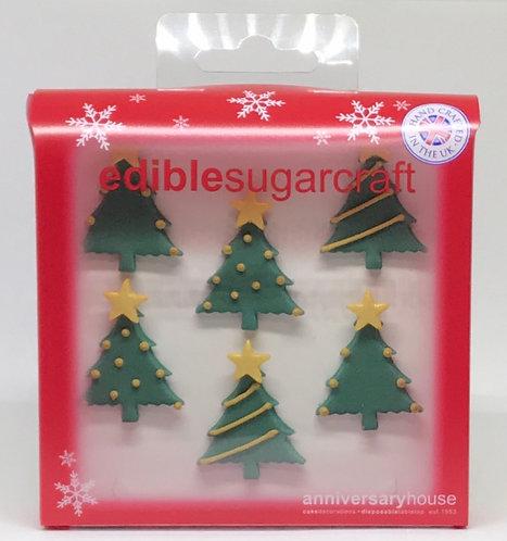 Christmas Trees Edible Sugarcraft Icing Cake Decorations