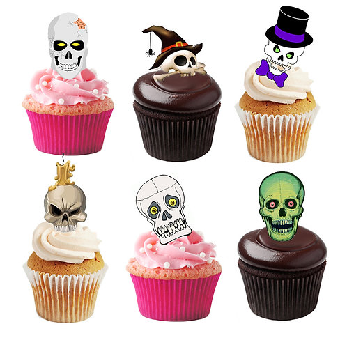 36 Stand Up Edible Wafer Paper Halloween Skulls Toppers