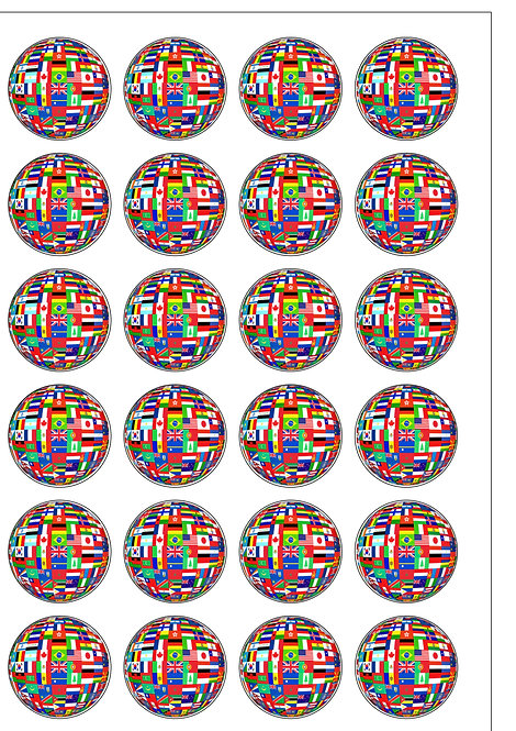24 Olympic Nation Flags of The World Pre-Cut Thin Edible Wafer Paper