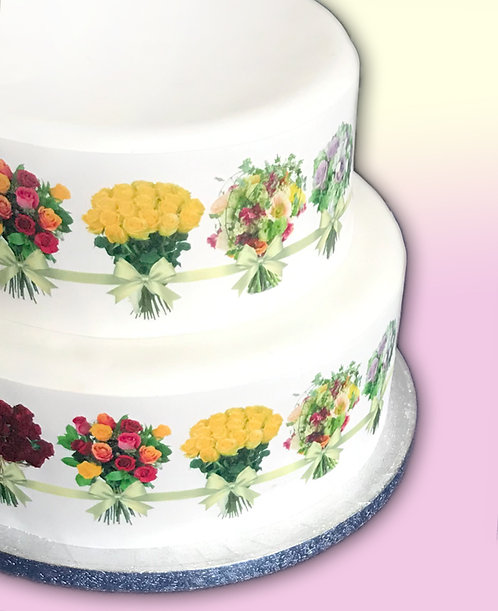 Flower Floral Bouquet and Ribbon Bow Border Decor Icing Sheet