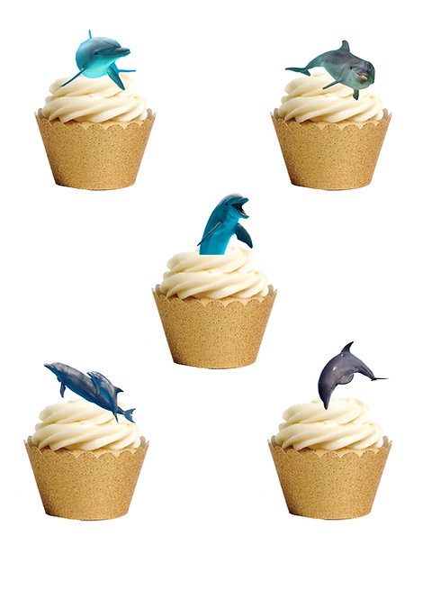 27 Stand Up Edible Wafer Paper Dolphin Fish Sea Ocean Cake Toppers