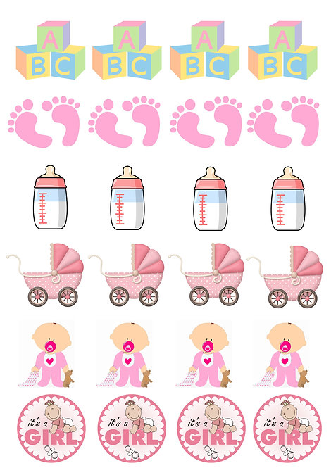 24 Stand Up Edible Wafer Paper Baby GIRL Shower Toppers