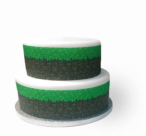 Pixel Gaming Style Border Decor Icing Sheet Cake Decoration