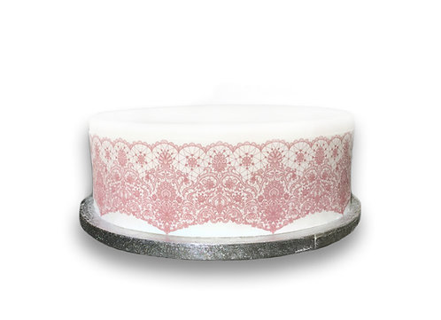 PINK Lace Effect Border Decor Icing Sheet