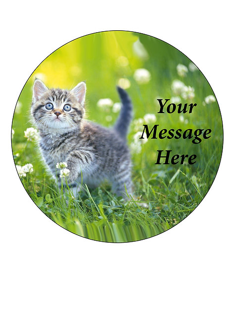 Cute Kitten themed PERSONALISED MESSAGE 7.5 Inch Circle Decor Icing Sheet
