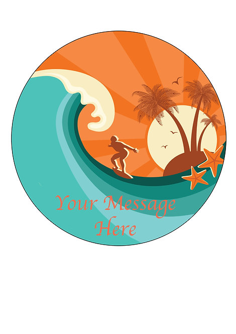 Surfing Sport PERSONALISED MESSAGE 7.5 Inch Circle Decorati