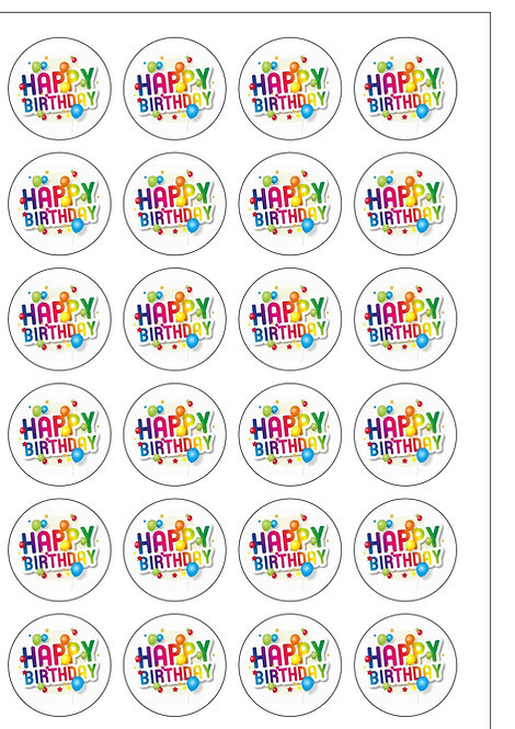 24 Precut Edible Wafer Paper Rainbow Colours Happy Birthday Cake Toppers