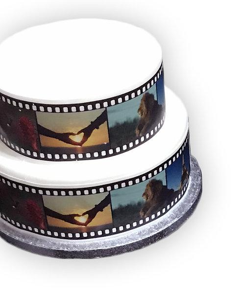 Cinema Movie Film Reel PERSONALISED IMAGES Border on Decor Icing Sheet
