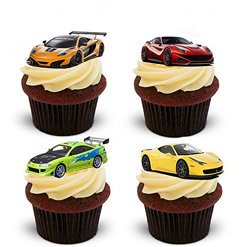 12 Stand Up Edible Wafer Paper Super Fast Cars Toppers