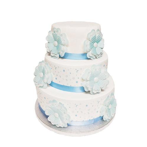 Blue Baby Shower Set Decor Icing Border & Wafer Paper Flowers Cake Decoration
