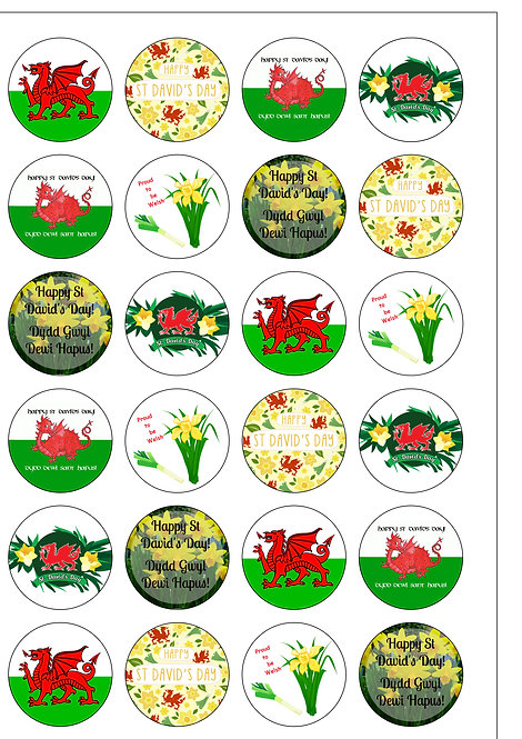 24 Precut St David's Day Welsh Edible Wafer Paper Toppers Decorations