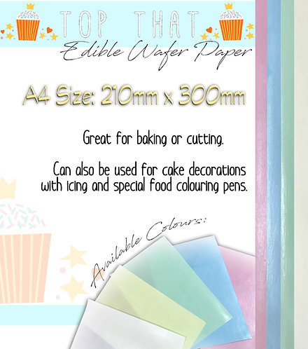 20 Sheets of A4 Edible Wafer Paper (Pink, Blue, Green & White)