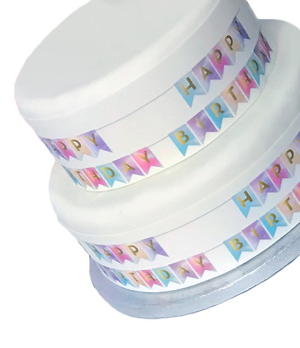 Happy Birthday Bunting Theme Border Decor Icing Sheet Cake Decoration