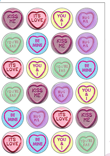 24 Precut Valentines Day Love Heart Sweets Edible Wafer Paper Toppers