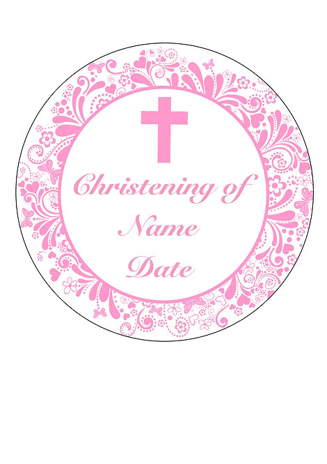 Christening Girl PERSONALISED MESSAGE 7.5 Inch Circle Decor Icing Topper