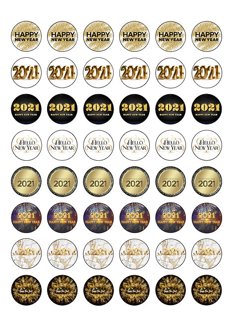 48 New Year 2021 themed 2.5cm Circle Edible Wafer Toppers