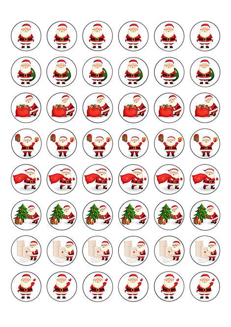 48 Cute Christmas Santa themed 2.5cm Circle Edible Wafer Toppers