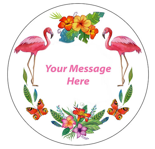 Pink Tropical Flamingo PERSONALISED MESSAGE 7.5 Inch Circle Decor Icing Sheet