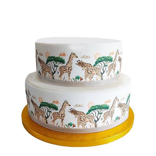 Giraffe Safari Borders Decor Icing Sheet Cake Decoration