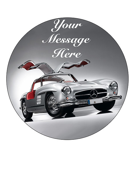 Classic Mercedes SL Gullwing PERSONALISED MESSAGE 7.5 Inch Circle Decor Icing