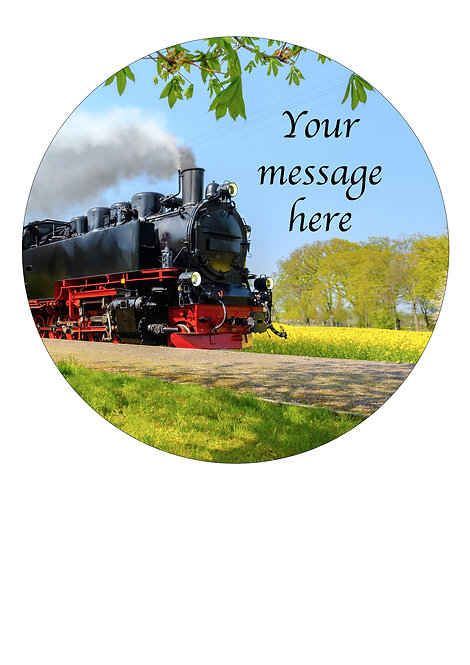 Steam Train PERSONALISED MESSAGE 7.5 Inch Circle Decoration Topper