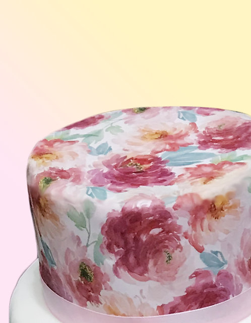 Watercolour Peony Floral Flower Design Wallpaper Decor Icing Sheet