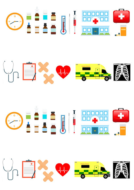 42 Hospital Ambulance Nurse Doctor Stand Up Edible Wafer Paper Cake Toppers