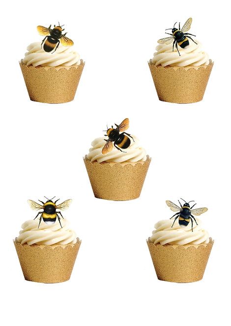 30 Stand Up Edible Wafer Paper Honey Bee Insect themed Cake Toppers