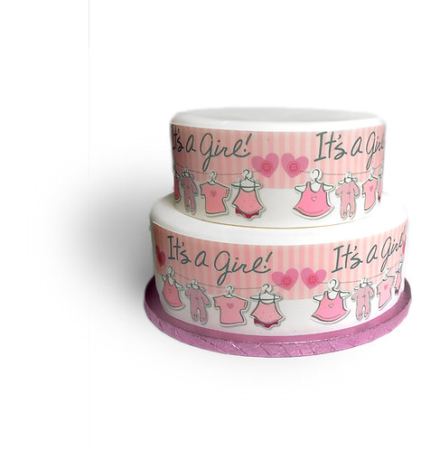 It's A Girl Baby Shower Borders Decor Icing Sheet