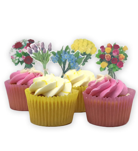 16 Stand Up Edible Wafer Paper Flower Bouquet themed Cake Toppe