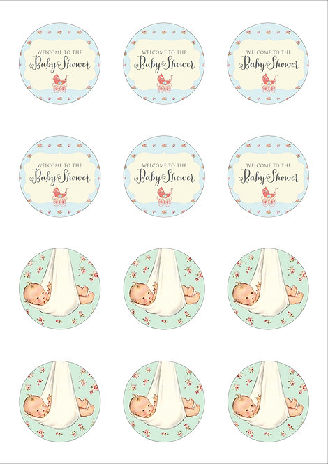 Vintage Baby Shower 5cm Circle Thin Edible Wafer Paper