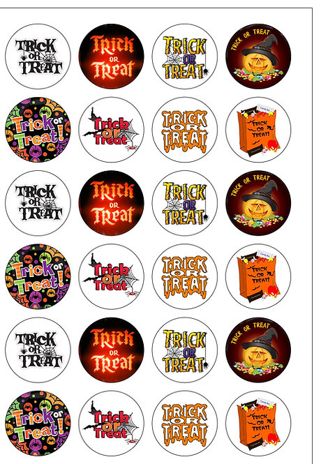 24 Halloween Trick or Treat Pre-Cut Thin Edible Wafer Paper