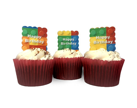 24 SQUARE Pre Cut Scalloped Colourful Block Happy Birthday Edible Wafer Paper