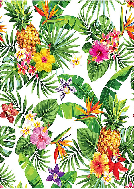 1 x A4 Colourful Tropical Flower Pineapple Wallpaper Decor Icing Sheet