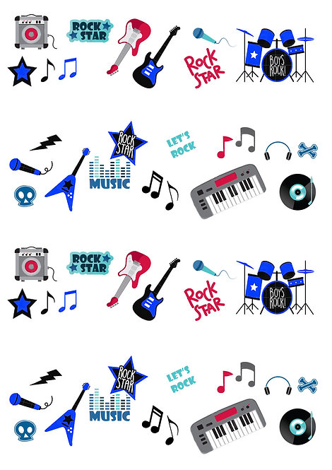 50 Stand Up Edible Wafer Paper Music Rockstar Boy Toppers