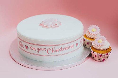 Christening Baby Girl Borders Decor Icing Sheet