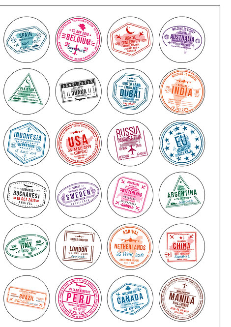 24 Precut Edible Wafer Paper Travel Stamp Passport themed Cake Toppers