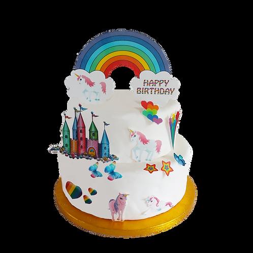 Rainbow Unicorn Happy Birthday Cake Scene Edible Wafer Paper Cake Topper