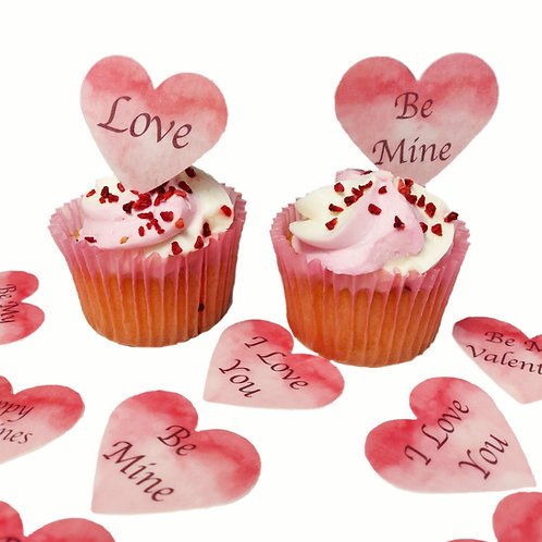 Pre-Cut Happy Valentines Day Pink Love Hearts Edible Wafer Paper Toppers