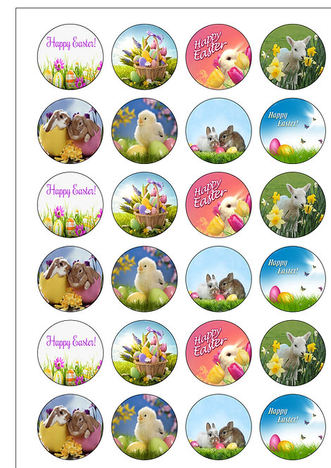 24 Easter Bunnies and Chicks Pre-Cut Thin Edible Wafer Paper