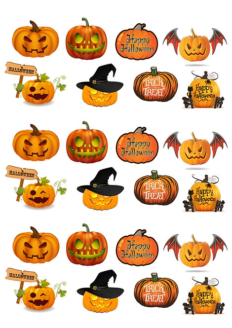 24 Stand Up Edible Wafer Paper Halloween Pumpkins Toppers