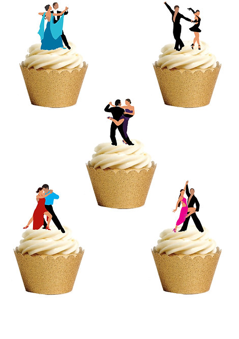 20 Stand Up Edible Wafer Paper Ballroom Dancing Cake Toppers
