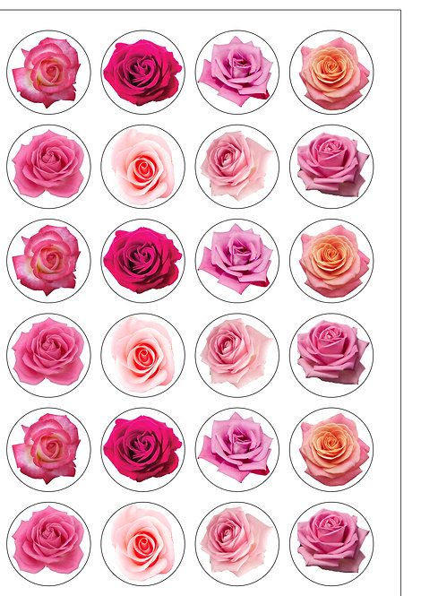 24 Pink Roses Rose Flower Pre-Cut Thin Edible Wafer Paper