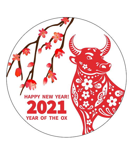Chinese New Year 7.5 Inch Circle Decor Icing Sheet The year of the Ox
